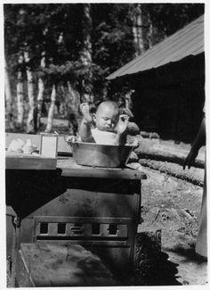 baby on stove
