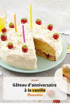 Birthday cake with vanilla, an easy and quick cake for a year … – Vanilla cake – # by RecipesFR Easy Cake Recipes, Dessert Recipes, Quick Cake, Cookies Et Biscuits, Flan, Vanilla Cake, Coco, Meal Planning, Caramel