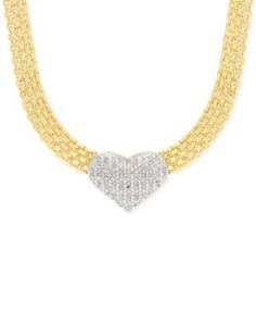 Victoria Townsend Diamond Heart Collar Necklace (1/4 ct. t.w.) in 18k Gold Plating
