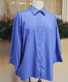 Lands End Classic Blouse Shirt XL French Blue Cute Party Fun Jeans Slacks Comfy #LandsEnd #ButtonDownShirt #Casual