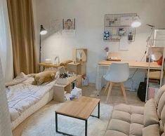 Room Design Bedroom, Small Room Bedroom, Room Ideas Bedroom, Home Room Design, Interior Design Living Room, Bedroom Decor, Korean Bedroom Ideas, Small Room Interior, Studio Interior
