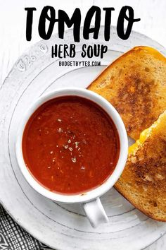 Use basic pantry staples to creat this quick and easy Tomato Herb Soup. It's thick, rich, flavorful, and perfect for grilled cheese dipping! Budgetbytes.com Vegetarian Soup, Vegan Soups, Vegetarian Recipes, Healthy Recipes, Chili Recipes, Soup Recipes, Herb Soup, Dinner Menu, I Love Food