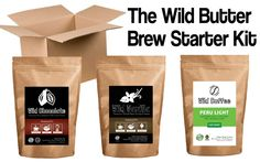The Wild Butter Brew Starter Bundle | Chocolate Powder, Vanilla Powder, Choice Roast Wild Coffee