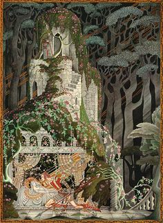 """Sleeping Beauty"" (from Hansel and Gretel and Other Stories From the Brothers Grimm, 1925) ~ by Kay Rasmus Nielsen (1886 -1957), Danish illustrator.    ."