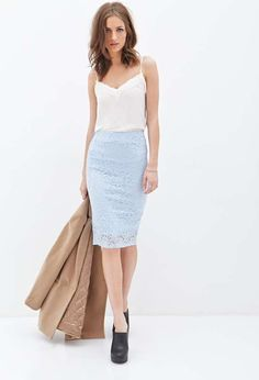 Love the Forever 21 Lace Pencil Skirt on Wantering. Forever 21, Skirt Outfits, Cute Outfits, Work Outfits, Office Fashion, Jw Fashion, Female Fashion, Fashion News, Blue Lace