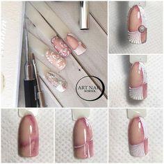 Stylish Nails, Trendy Nails, Vintage Nails, Bridal Nail Art, Diva Nails, Luxury Nails, Diy Nail Designs, Beautiful Nail Designs, Nail Art Hacks