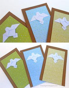 origami - estampas con detalle de paloma plegada en papel
