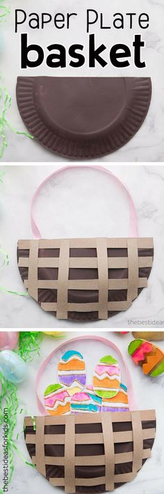 Easter Paper Plate Basket - what a fun craft idea for Easter! Make easter paper plate crafts for kids. Paper craft for Easter. A fun kids craft and activity. #easter #kidscraft #papercraft