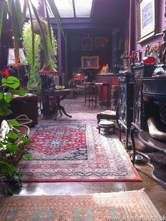 love the rugs and the plants. the lighting in this place is dreamy!