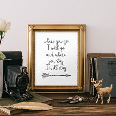 Scripture Printable Bible Verse Inspirational Quote Arrow Print Wall Art Decor Poster Typography Digital Where you go I will go Printable