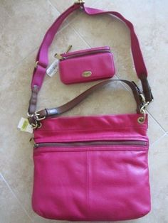 NWT FOSSIL EXPLORER HOBO BAG & FLAP CLUTCH WALLET SET LEATHER ORCHID RETAIL $258 #Fossil #Hobo