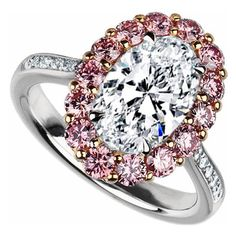 Oval Diamond with Natural Intense Pink Diamond Halo Ring in Platinum