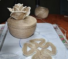 Поделка изделие Моделирование конструирование Джутовая шкатулка для безделушек   Клей Шпагат фото 10