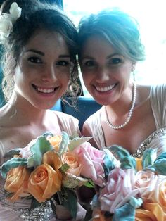 """Beautiful bridesmaids! Champagne / blush pink bridesmaids in chiffon! Pearls. Coral / Peach and mint bouquets with dusty miller leaves, garden roses and seeded eucalyptus! Flowers by """"Flowers by K.H."""""""