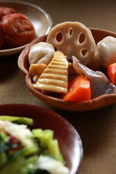 Japanese Nimono, Slow-Cooked Vegetables (Renkon Lotus Root, Carrot, Bamboo Shoot, Satoimo Potato (taro), Konjak)|野菜の旨煮