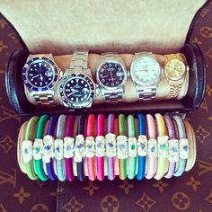 Always Travelling with enough URU Bracelets and Rolexs