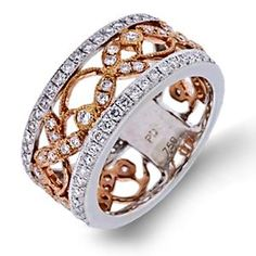 Shop online Arthurs Collection RAD-16972 Diamond Pave Set 18K - Rose Gold Womens Wedding bands  at Arthur's Jewelers. Free Shipping