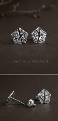 Silver leaf earrings, leaf imprint, forest jewelry, botanical earrings, silver woodland earrings, nature studs, geometric post earrings