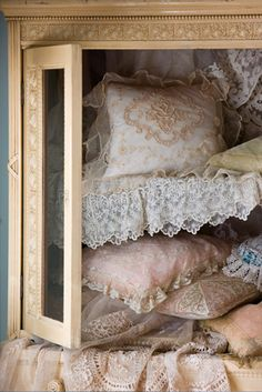From collars and handkerchiefs to curtains and pillow slips, lace can add a delicate touch to interiors.