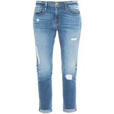 FRAME DENIM Le Garcon Boyfriend Jeans found on Polyvore featuring jeans, pants, bottoms, calças, distressing jeans, torn boyfriend jeans, vintage jeans, destroyed jeans and boyfriend jeans