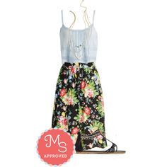 In this outfit: Classy Axiom Skirt, Balcony Vista Top, Chime is of the Essence Necklace, Took the Midnight Chain Sandal #summer #floral #chambray #cute #casual #sandals #ModCloth #ModStylist #fashion