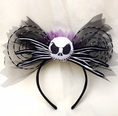 Nightmare Before Christmas Minnie Mouse - smaller bow, combine swirled wire ears with black lace