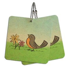 Robin in Spring Wood MDF 4' x 4' Mini Signs Gift Tags >>> You can find out more details at the link of the image.