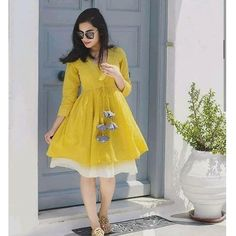 Casual cotton dress - Boho dress Mustard ethnic dress mychoice fashion boho Bohemian looks trend Western Dresses For Women, Frock For Women, Stylish Dresses For Girls, Cheap Dresses, Casual Dresses, Short Dresses, Frock Fashion, Indian Fashion Dresses, Dress Indian Style