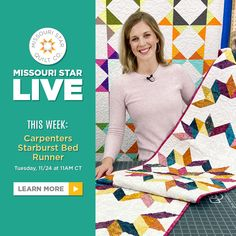 Join Misty Doan in the Missouri Star LIVE replay as she demonstrates a new twist on a classic fan-favorite! The Carpenter's Starburst Bed Runner is just exploding with color! Follow the link below to watch the live replay now. #MissouriStarQuiltCo #MSQC #MissouriStarLive #CarpentersStar #CarpentersStarburst #BedRunner #Quilting #Quilt #Sewing #HowToQuilt #MistyDoan #DIYHomeDecor #FabricCrafts #QuiltingTutorial #StarAesthetic