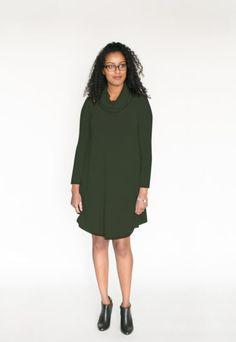 *pre-sale* Cowl Neck Dress – olive (ships in 2 to 4 weeks)  $98.00    All the comfort and style of our swing dresses plus a lovely cowl neck! This brand new dress is going to be a hit for sure! We have changed the bottom hemline and made the front and back longer than the sides to create a nice look with tall boots or your favourite short booties (we love to wear ours with our Poppy Barley shoes).