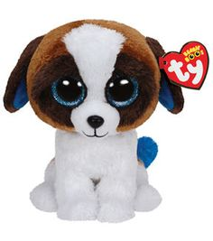 TY Beanie Boo Duke Brown White Dog ad4169b99168