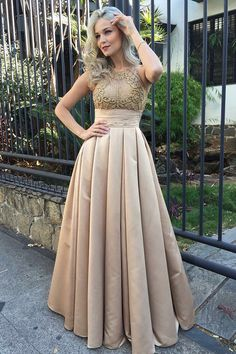 champagne long formal party dresses with appliques, fashion dreamy gowns, elegant evening gowns with beaded.