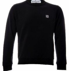 Stone Island, Colour Black, Black Fabric, Cuffs, Crew Neck, Pullover, Stylish, Logos, Sweatshirts