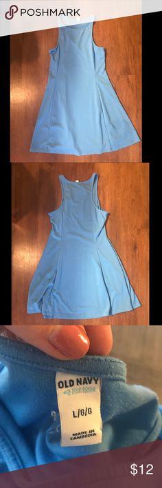 Old Navy Blue Racerback Dress Light blue halter-esq racerback dress, flowy at the bottom Old Navy Dresses