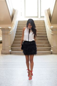 how to style a feather skirt for holiday!