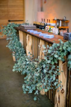 Garlands of silver dollar eucalyptus wedding bar decor ideas Wedding Arch Greenery, Church Wedding Decorations, Garland Wedding, Eucalyptus Garland, Eucalyptus Wedding, Wedding Table, Wedding Reception, Wedding Ideas, Reception Entrance