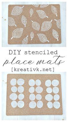 DIY stenciled place mats kreativk.net