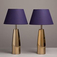 An Unusual Pair of Italian Cast Metal Table Lamps with a Polished and Matt Bronze Finish 1970s