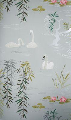 papier peint cygnes et lac / Swan Lake wallpaper by Nina Campbell