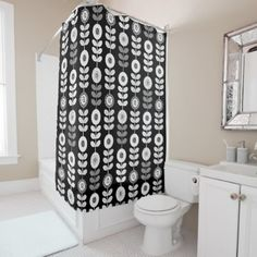 #stylish - #Modern Black and White Floral Shower Curtain