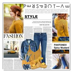 """""""Denim Blue and Mustard"""" by queenrachietemplateaddict ❤ liked on Polyvore featuring Vans, Dorothy Perkins, 3x1, WearAll, GUESS, Prada and ALDO"""