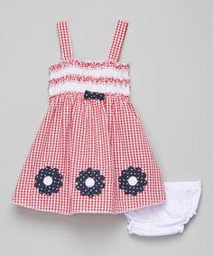 Look what I found on #zulily! Red & White Smocked Seersucker Dress - Infant #zulilyfinds