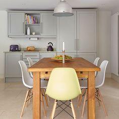 Grey kitchen with dining table | Kitchen decorating | Beautiful Kitchens | Housetohome.co.uk