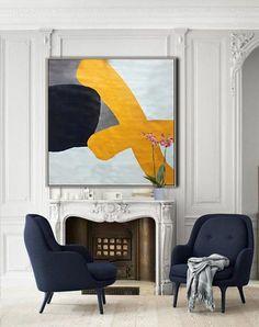 Minimalist painting on canvas  #XB94A large modern geometrical art, yellow, grey, navy, by CZ Art Design #CelineZiangArt