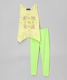 Yellow Sidetail Tank & Lime Green Leggings #zulily #zulilyfinds
