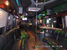 Inside the 30 passenger Party Bus Limousine Interior, Stripper Poles, Party Bus Rental, Prom Party, Buses, Transportation, Wedding, Image, Design