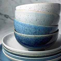 Denby Studio Blue Cereal Bowls In Pebble (Set Of 4) Blue/white - Denby's Studio Blue Dinnerware brings casual-chic style to your table. Beautifully handcrafted in England, each versatile stoneware piece features a tonal glaze inspired by the natural colors and textures of stone and minerals.