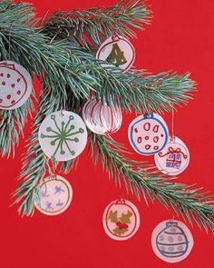 Artwork Ornaments    A child's work of art can become a festive ornament for adults to cherish for years to come. Scan kids' drawings into the computer, and print onto shrinkable plastic film made for ink-jet printers (available at craft stores). Cut out, and punch hole at top. Bake according to package directions; add hooks.