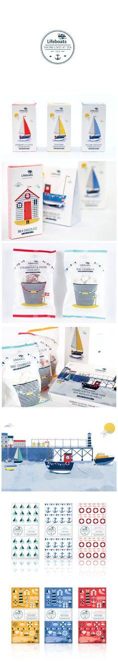 Lifeboats sweets, candy, chocolate packaging design. I love the colorful little boats. #packaging