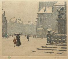 """T.F. (Tavik Frantisek) Simon  """"Staromestske Namesti in Winter"""""""